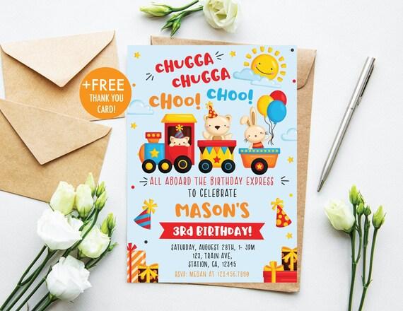 train birthday invitation chugga chugga