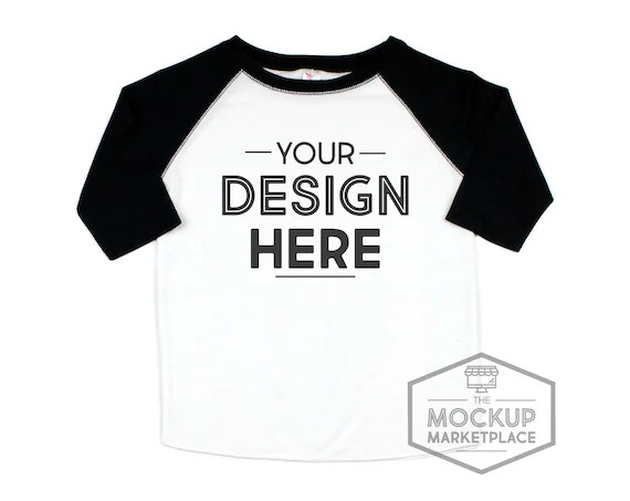 Download Free Laughing Giraffe Black Raglan Mockup Sublimation ...