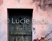 Pink French door, old door, peeled paint green, digital print, poster download, ML130