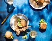 Blue ocean backdrop, blue food surfaces, digital backdrop, ML114
