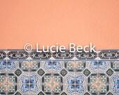 Portugese tiles in peach backdrop, ML841, digital backdrop, colourful backdrop, Portugese tiles, backdrop foodphotography, myluciebackdrops