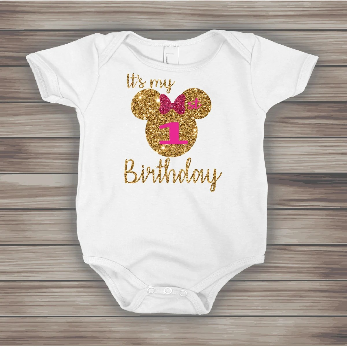 Free Shipping Pink And Gold Personalized Minnie Mouse 1st Birthday Bodysuit Minnie Mouse 1st Birthday Shirt Minnie First Birthday Onesie Baby Girls Clothing Clothing
