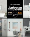 Bathroom 5 In 1 Bundle Wall Frame Mockup Blank Wall Canvas Etsy