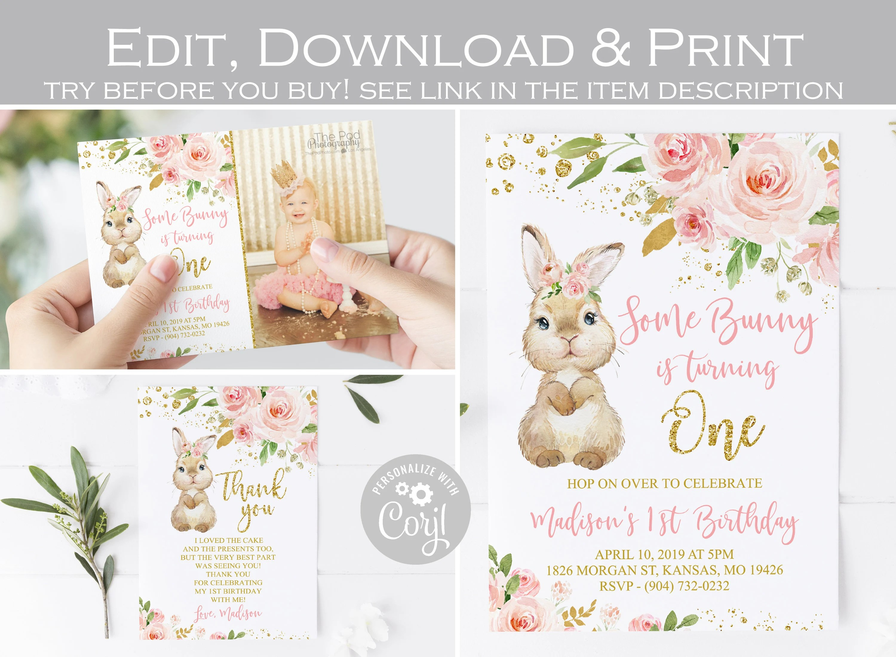 some bunny is one invitation etsy