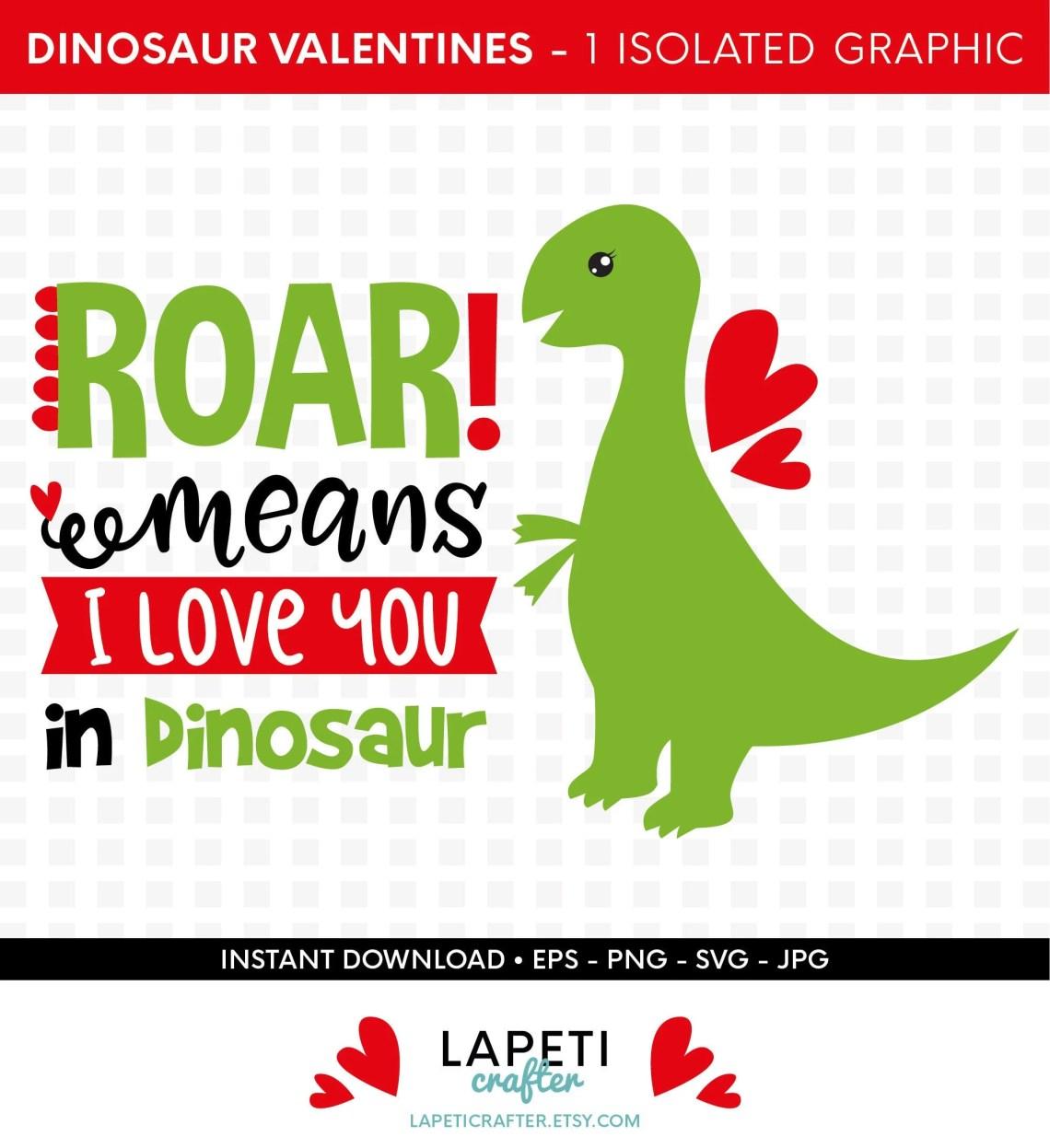 Download Dinosaurio San Valentín SVG roar significa te quiero en   Etsy