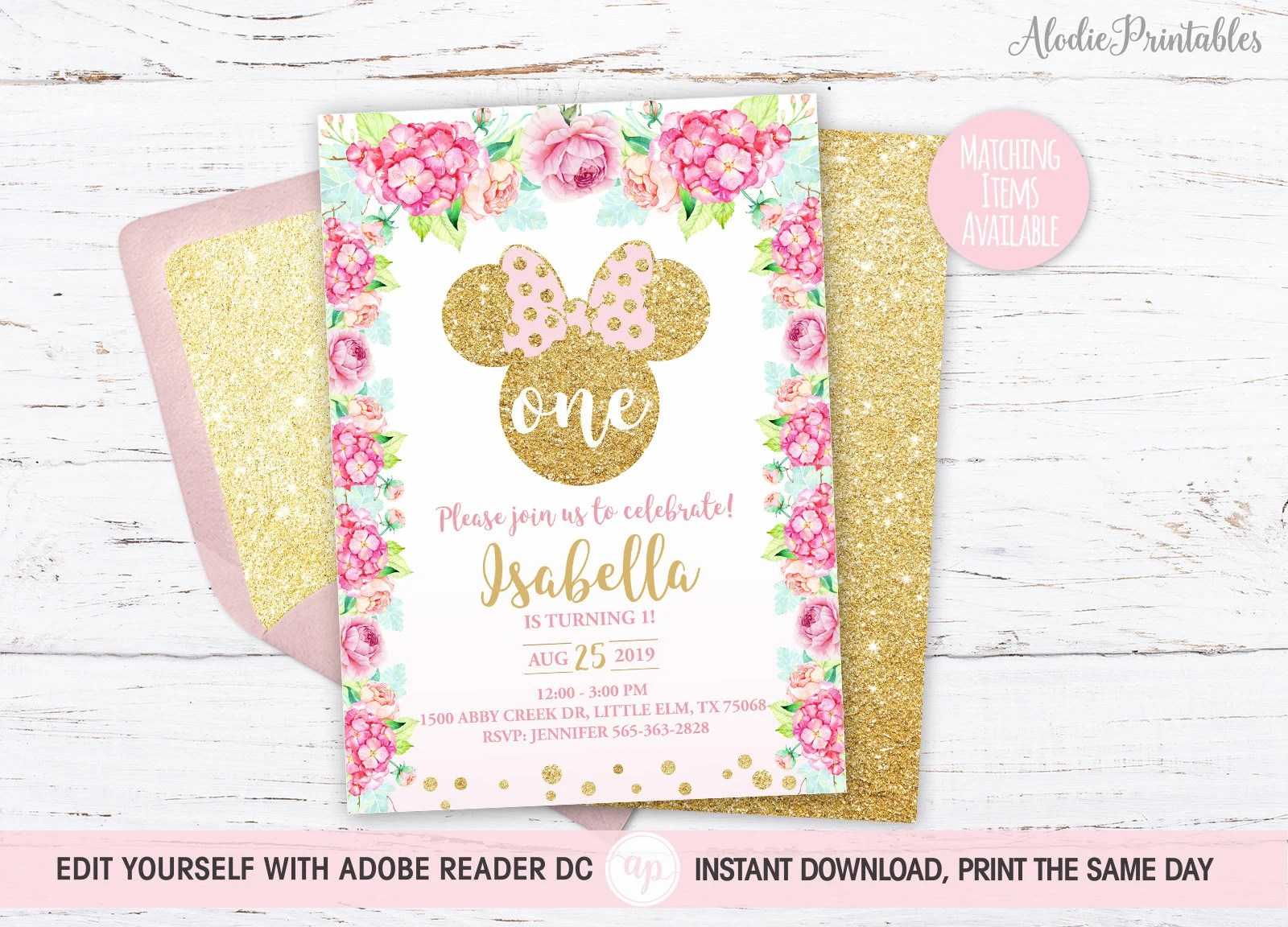 minnie mouse 1st birthday invitation girl first birthday party invite instant download pdf template florals gold glitter bdi19