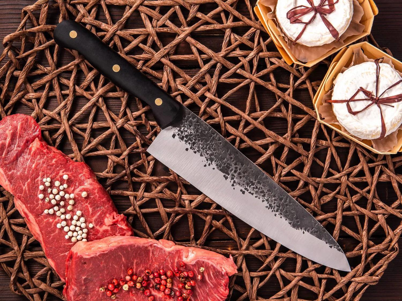 handmade chef knife hand forged knife kitchen knife gyuto bog oak