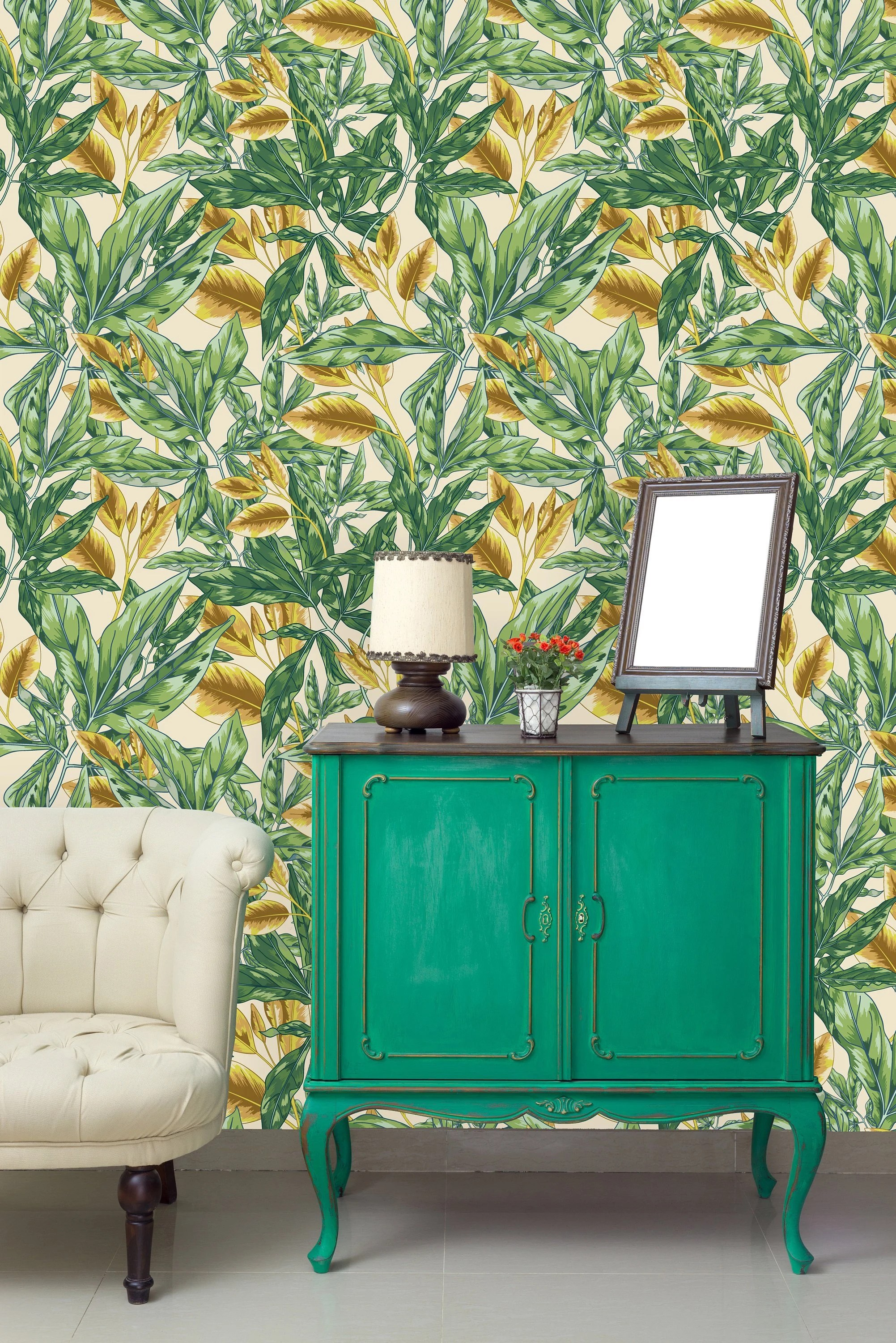Gold And Green Leaves Removable Wallpaper Peel And Stick Etsy