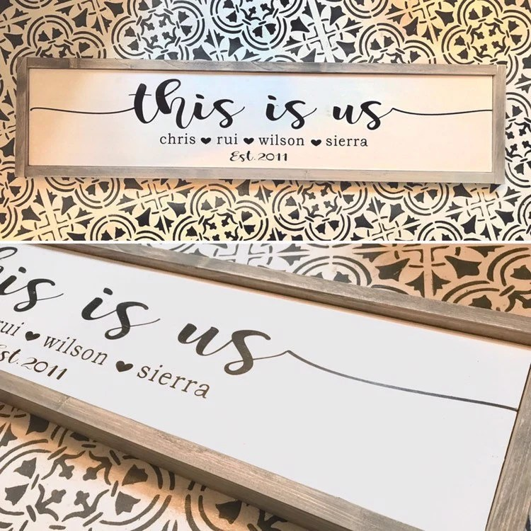 More colours                                                                                        this is us, personalized family sign, custom family name sign, large framed wood sign, anniversary gift, wedding gift, housewarming gift                                                                    DaintyNdistressedco         From shop DaintyNdistressedco                               5 out of 5 stars                                                                                                                                                                                                                                                          (165)                 165 reviews                                                                                   CA$72.00                                                                             CA$80.00                                                              CA$80.00                                                                                               (10% off)                                                                                                                                FREE delivery