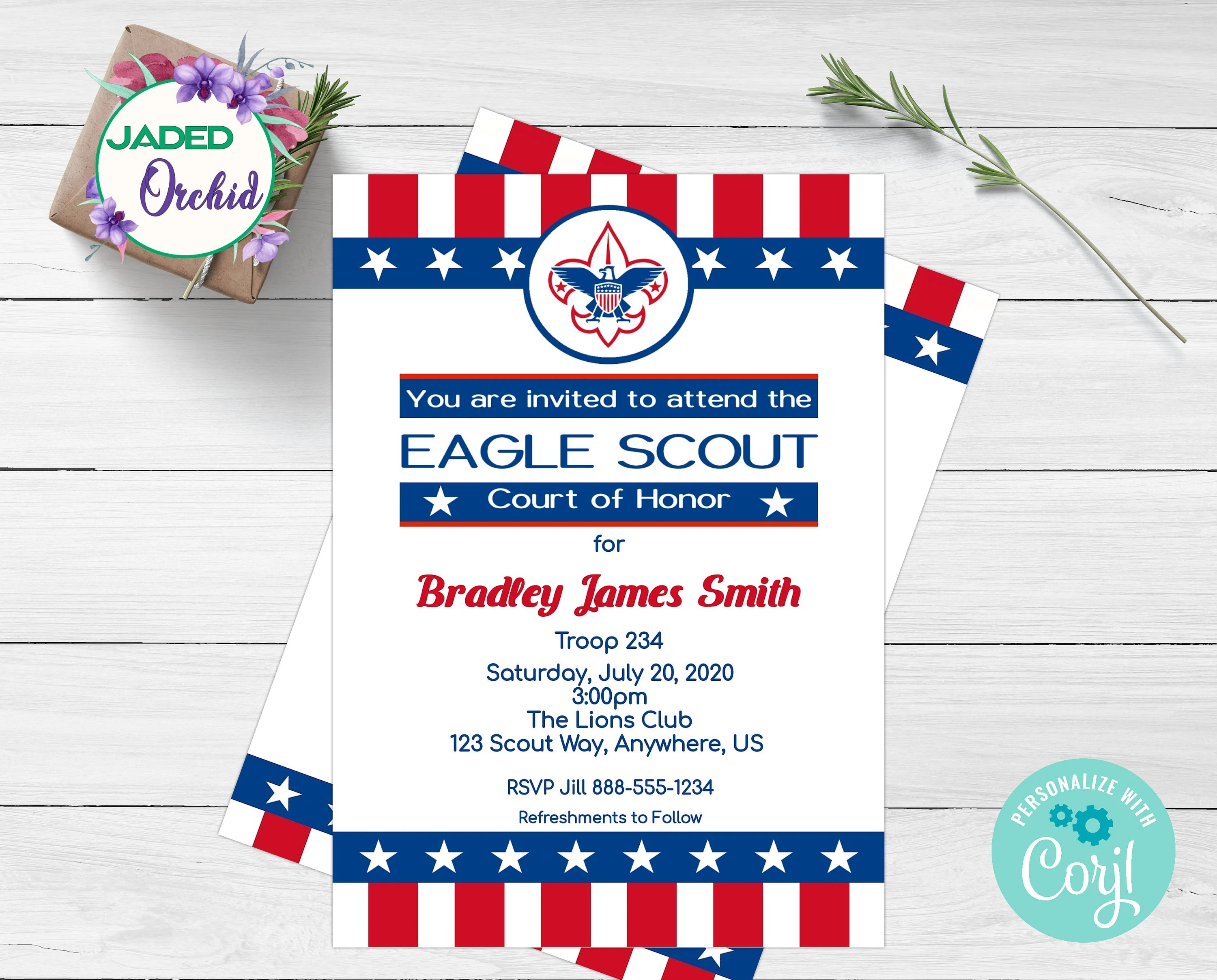 Editable Eagle Scout Court Of Honor Invitations Template Eagle Scout Invitation Instant Download Boy Scout Invitation Printable Announcement