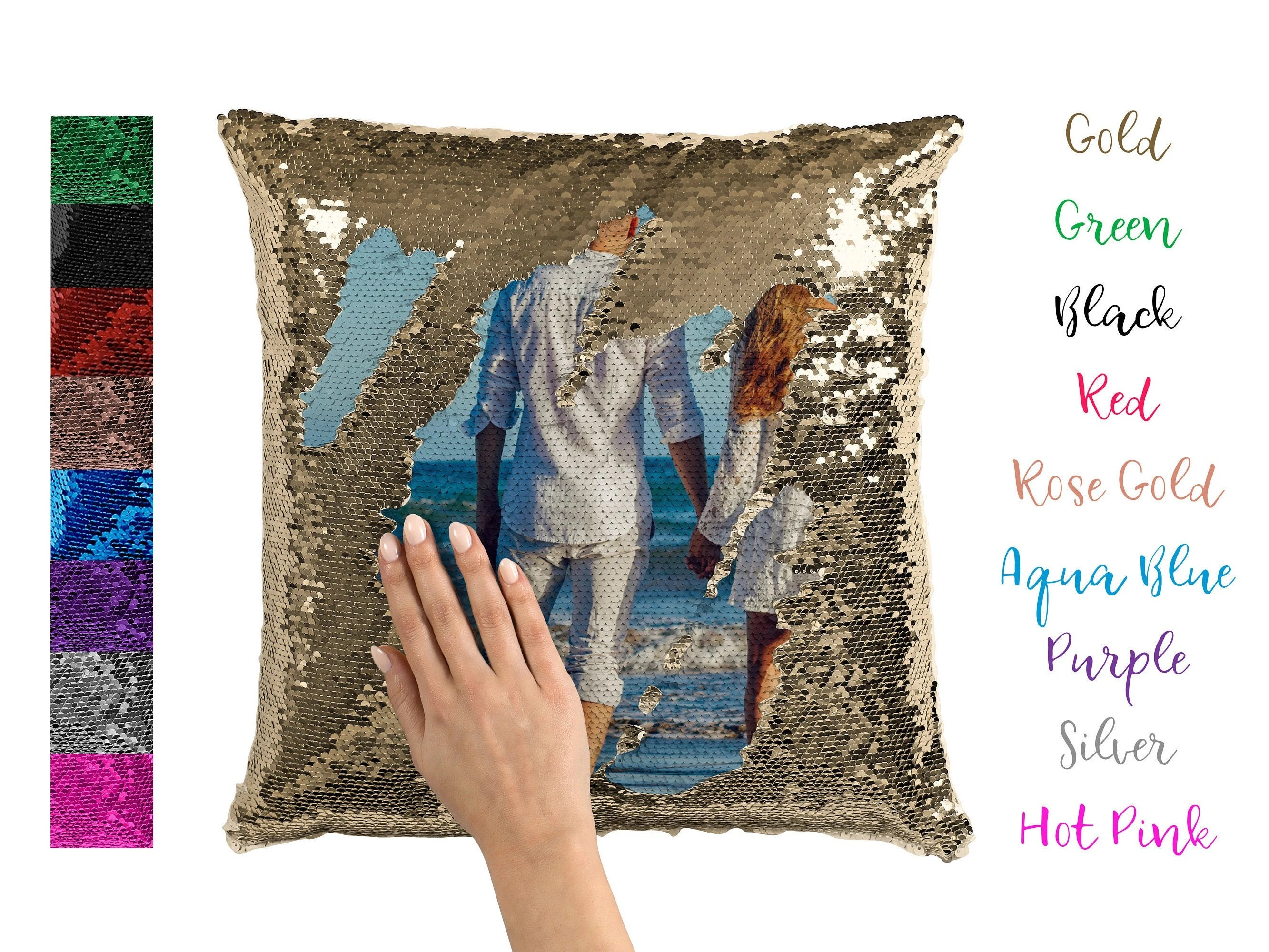 custom sequin pillow personalized reversible sequins christmas photo gifts for her kids teenage girl sequence mermaid cushion cover flip
