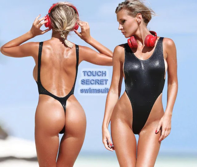 Sexy One Piece Thong Swimsuit Monokini Black Bathing Suit High Etsy