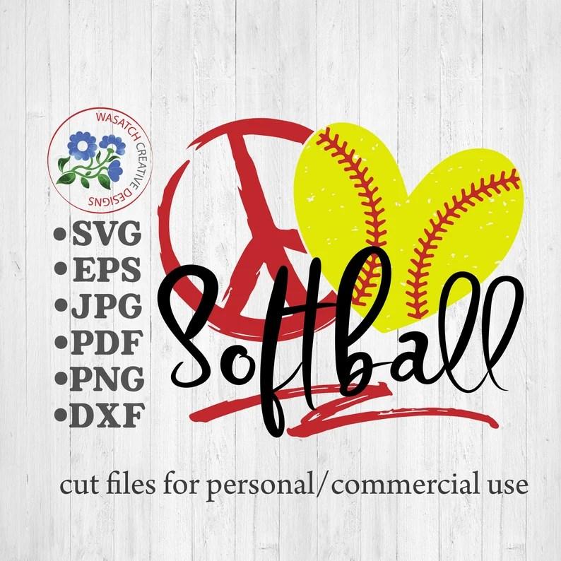 Download Peace Love Softball SVG Cutting file Softball svg | Etsy