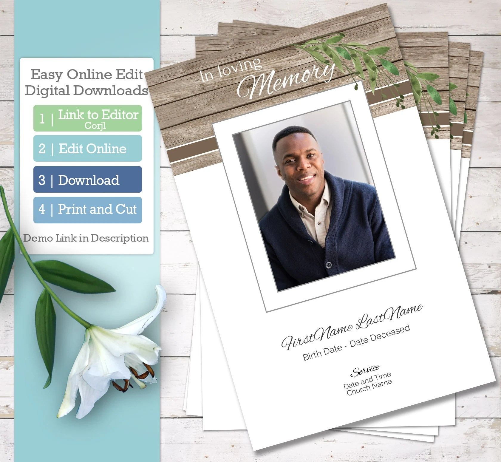 Dad S Funeral Program Template And Order Of Service Celebration Of Life And Father Memorial Program Online Edit Digital Download