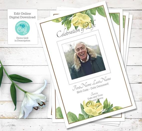 Rose Funeral Program Template Order Of Service And Obituary Funeral Pamphlet For Memorial Service Online Edit Digital Download