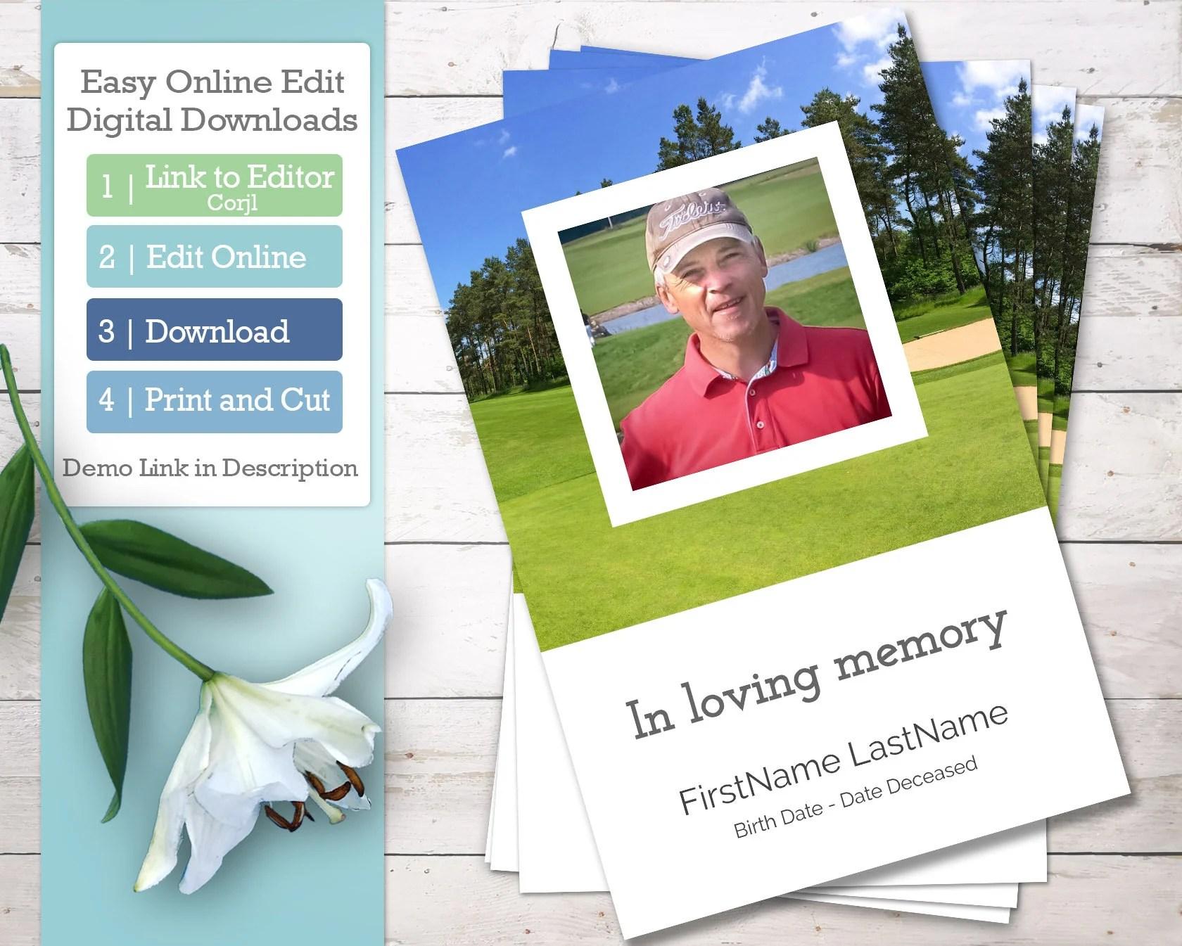 Golf Funeral Program Template And Order Of Service Celebration Of Life Obituary Printable Program Online Editable Digital Download