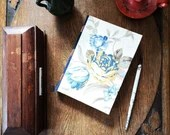 A5, floral journal, vintage notebook, drawing book, sketchbook, bullet journal, cotton fabric, 236 pages