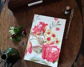 A5, floral journal, vintage notebook, drawing book, sketchbook, bullet journal, cotton fabric, 196 pages