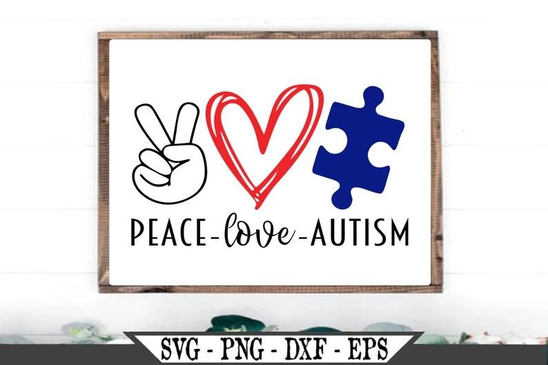 Download Peace Love Autism SVG Vector Cut File For Vinyl Cutter ...