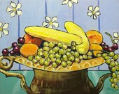 """Still life with fruit in an ornate urn - original acrylic painting on 20x16"""" stretched canvas. Ready to hang!"""