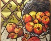 """Still Life with a Basket of Apples - original acrylic painting on 12x10"""" stretched canvas. Ready to hang!"""