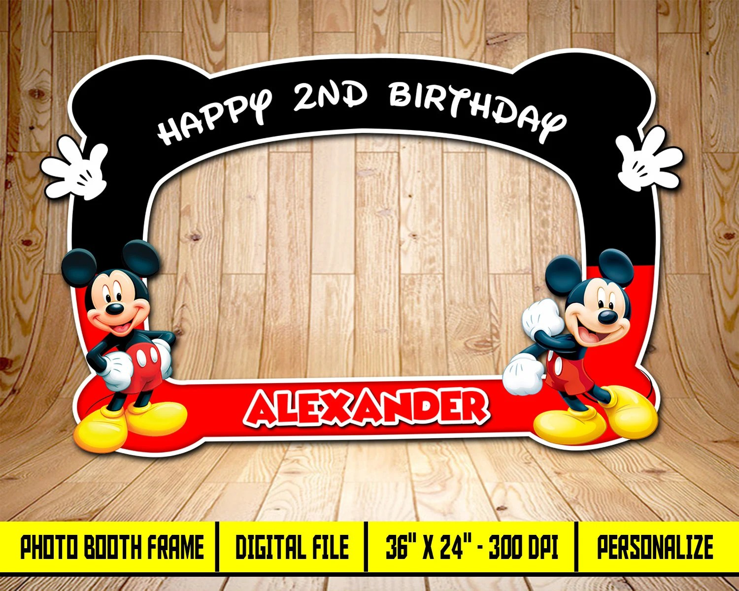Mickey Mouse Mickey Mouse Photo Booth Frame Birthday Photo Etsy