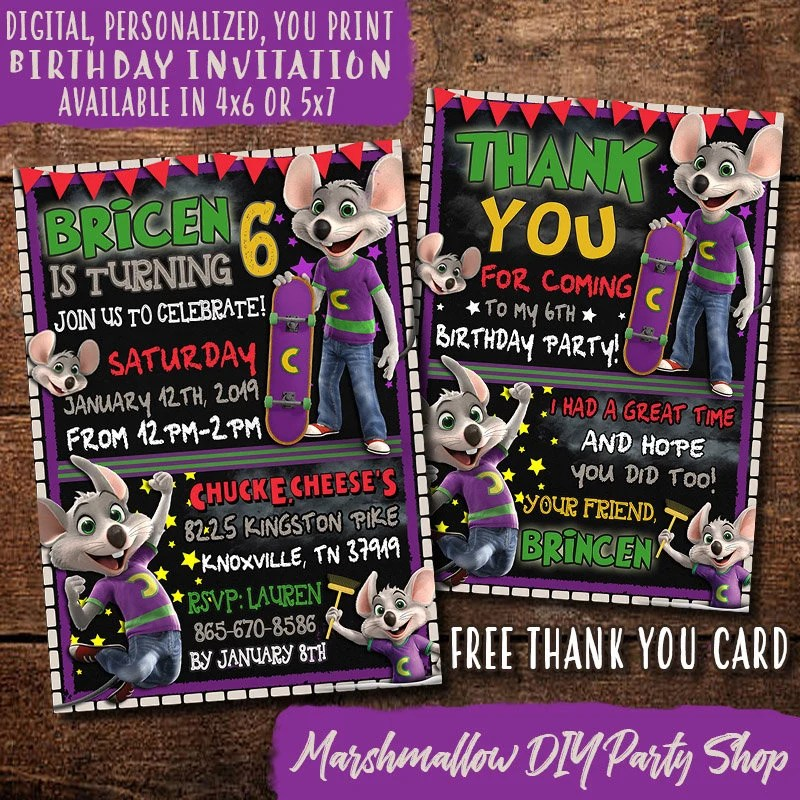 Chuck E Cheese Birthday Invitation Digital Print Yourself Etsy