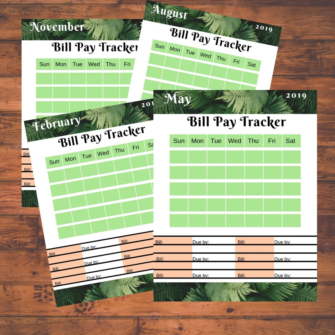 Budget Bill Pay Tracker For Budget Binder Fern Design