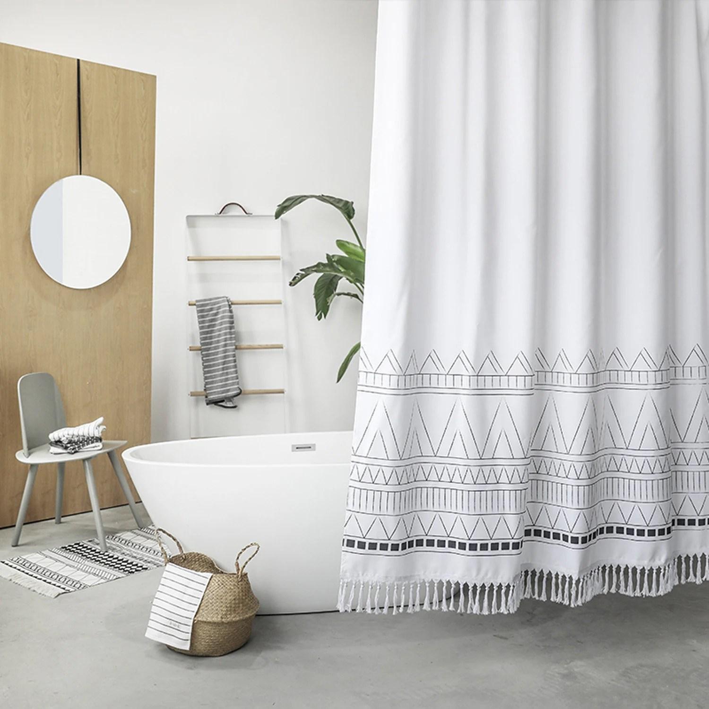 Black Amp White Bohemian Shower Curtain With Tassel Boho Shower Etsy