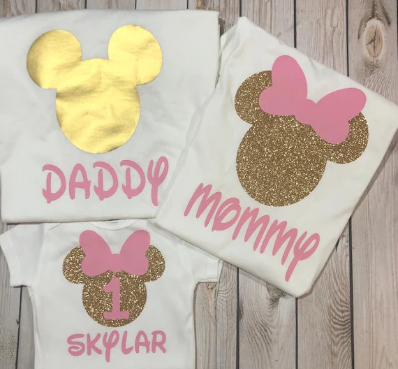 Minnie Mouse Mom And Dad Shirts Minnie Mouse Matching Family Etsy