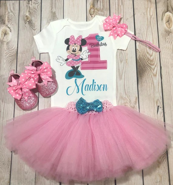 Minnie Mouse 1st Birthday Outfit First Birthday Minnie Mouse Etsy