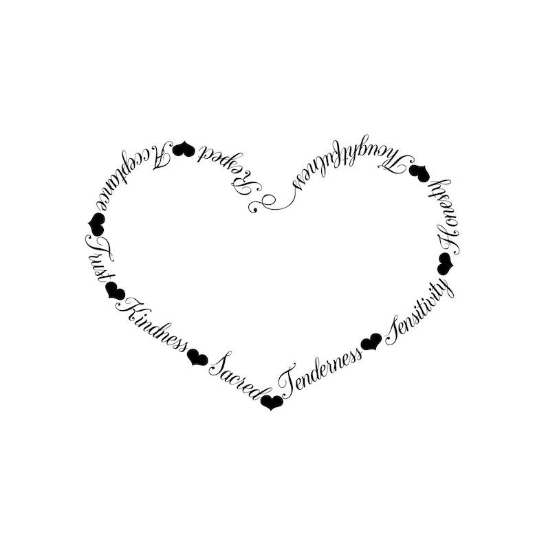 Eigenschaften Der Liebe Schwarz Weiß Svg Herz Vektor Herzen Clipart Wortkunst Diy Druckbare Download Cricut Datei Für Schneiden Eps Dxf Png