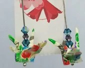Japanese Crane Earrings, Origami Paper Earrings, Chiyogami Paper, Swarovski and Czech Crystal Beading, Dangling Silver Plated Earrings