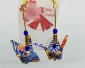 Japanese Crane Earrings, Origami Paper Earrings, Chiyogami Paper, Swarovski and Czech Crystal Beading, Dangling Gold Plated Earrings