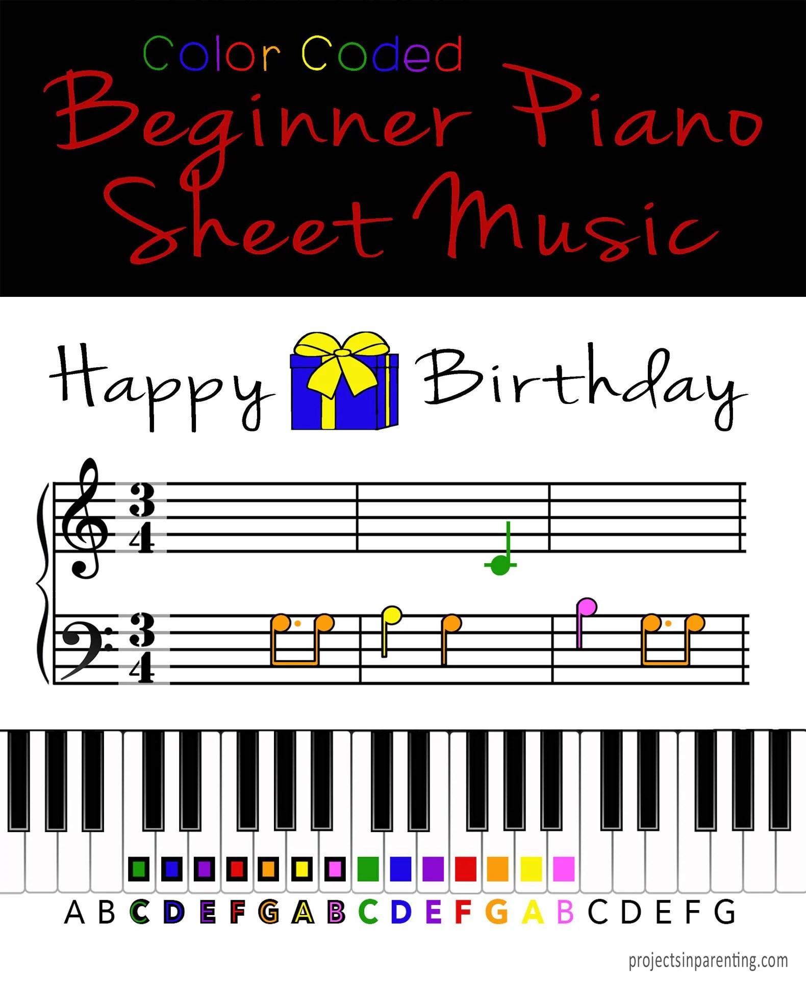 Happy Birthday Color Coded Beginner Piano Music Sheet Etsy