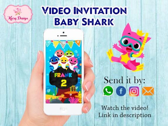 Baby Shark Video Invitation Baby Shark Birthday Invitation Etsy