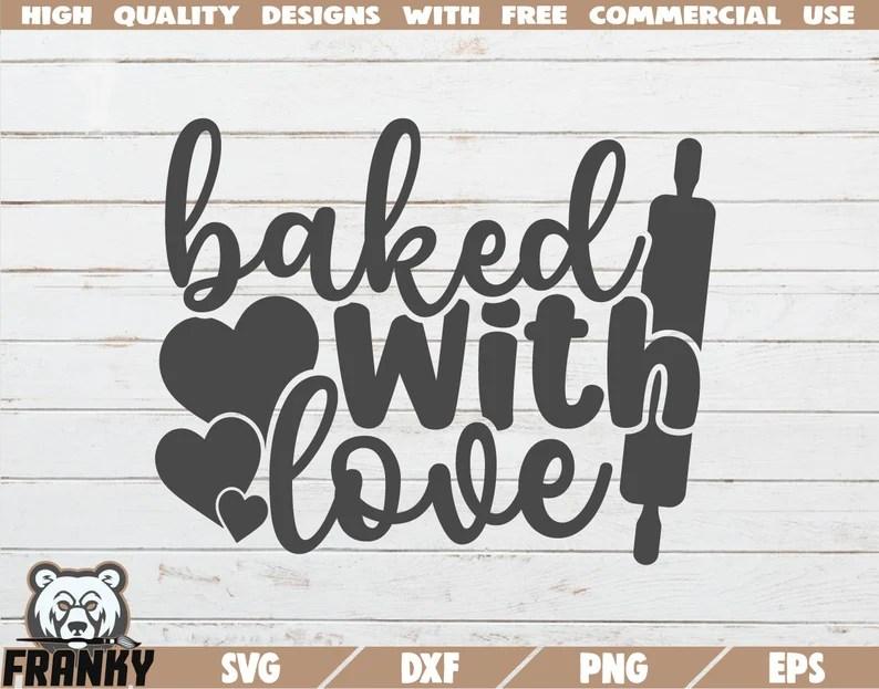 Download Baked with love SVG Baking SVG Bake SVG Kitchen svg | Etsy