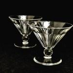 Champagne Glasses Crystal Cut Val Saint Lambert Liquor Cocktail Low Sherbet Coupes 1920s Art Deco Vintage Set 2 Bar Cart Decor Gatsby