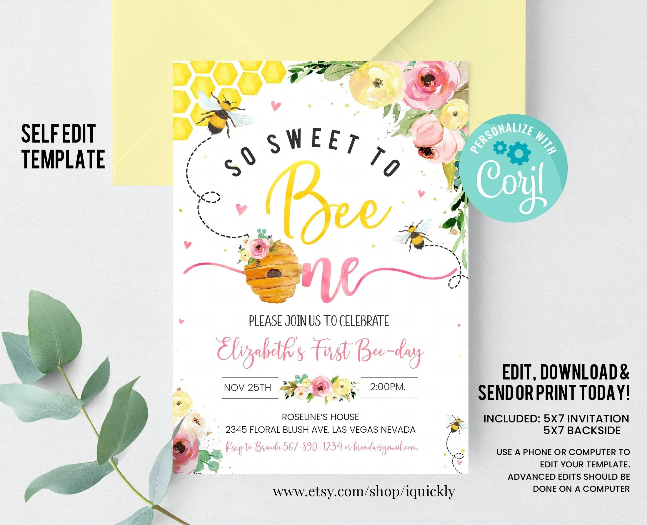 bee birthday invite etsy