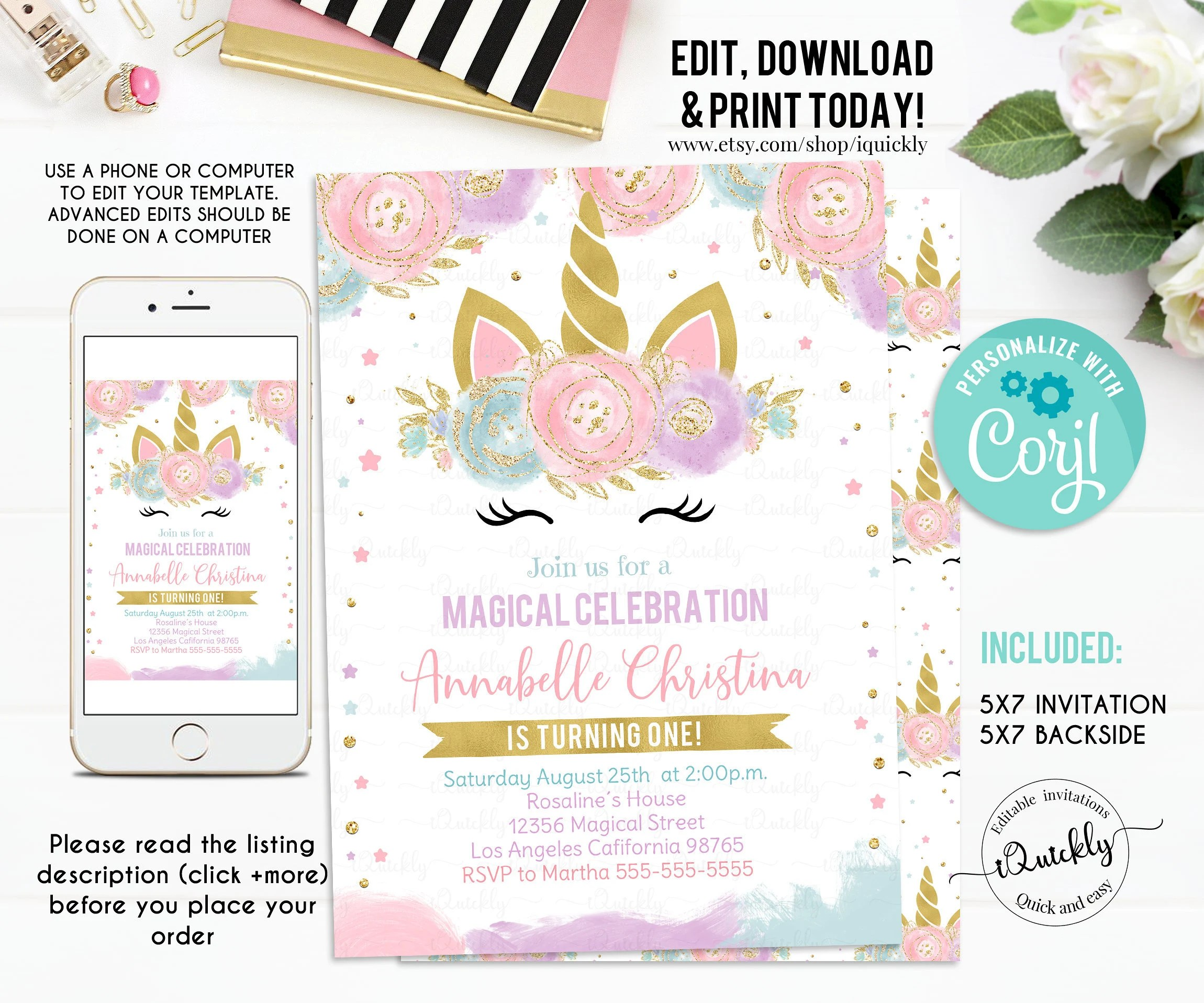unicorn invitations etsy