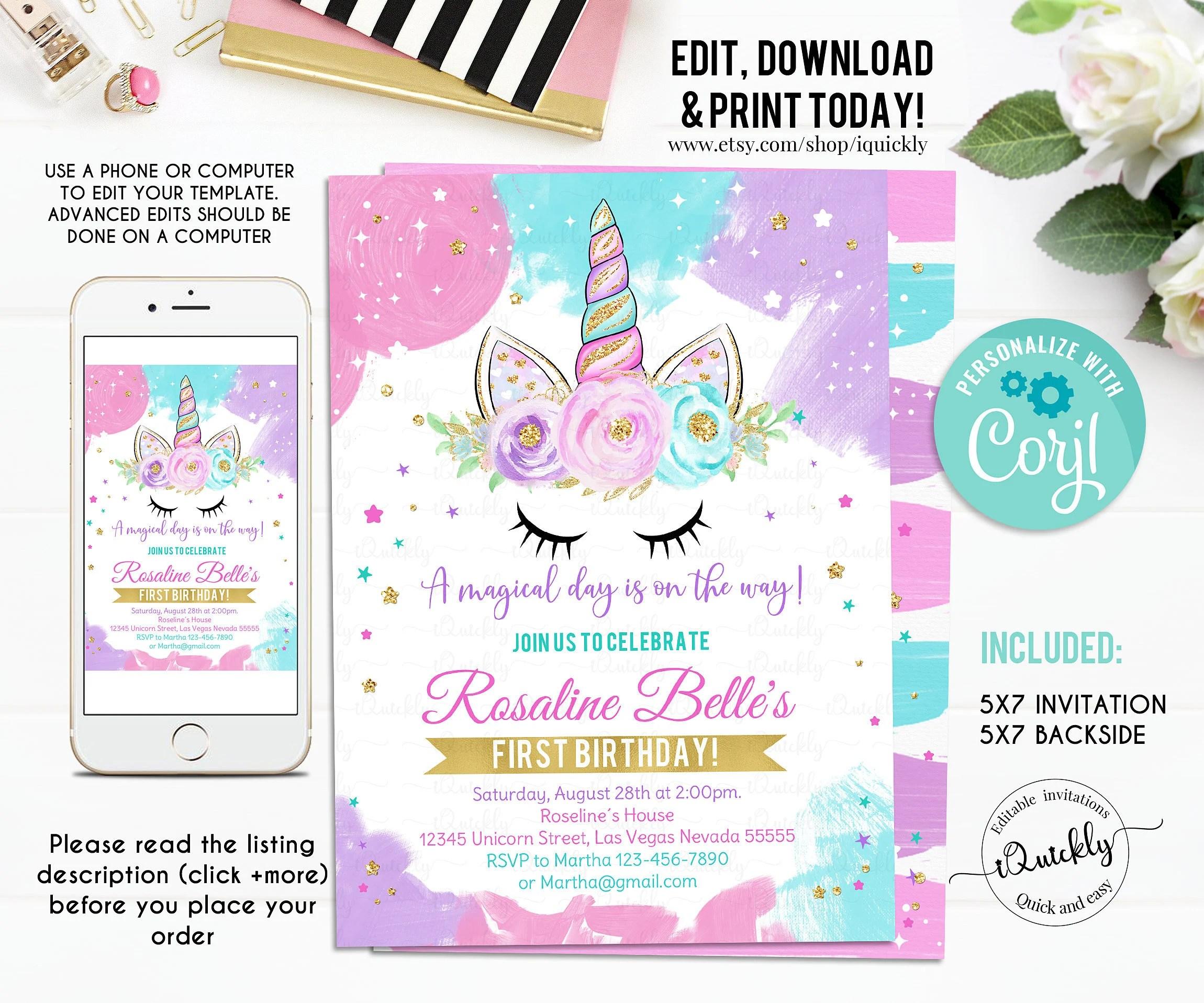 unicorn birthday invitation etsy