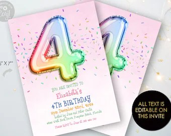 4 year old invite etsy