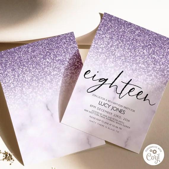 editable 18th birthday party invitation 18th invite lilac glitter marble instant download editable template corjl invitation