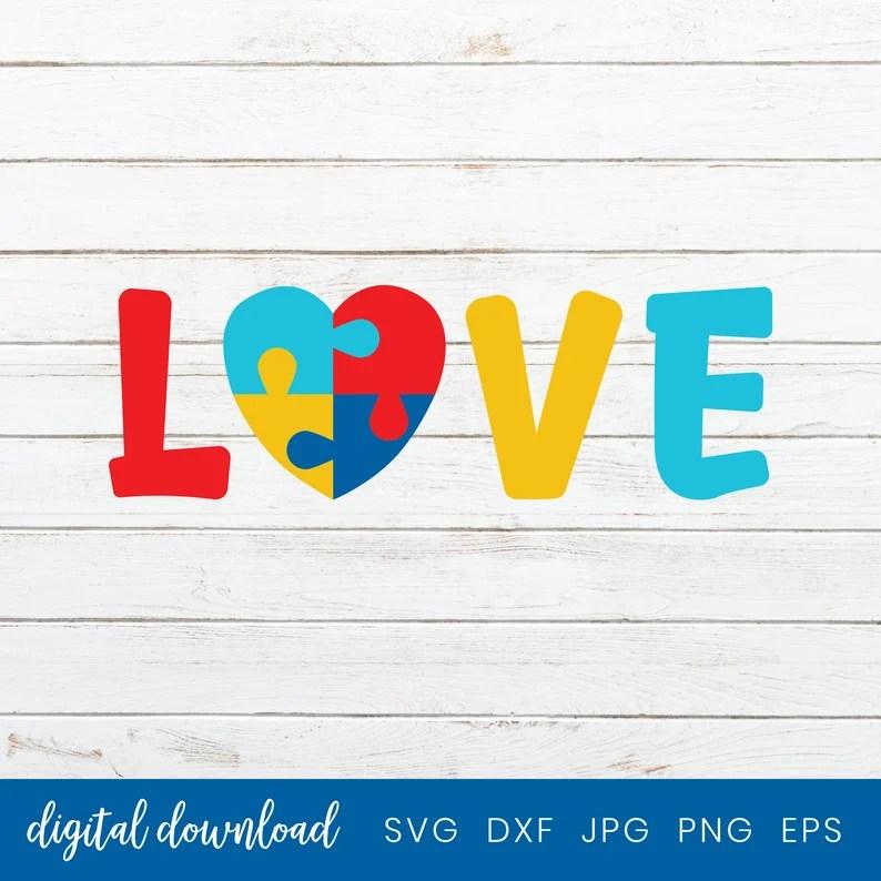 Download Autism Love Svg Cut File Autism Puzzle Piece Heart Svg Cut ...
