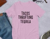 Tacos Thrifting Tequila Unisex Short Sleeve Jersey T-Shirt with Tear Away Label