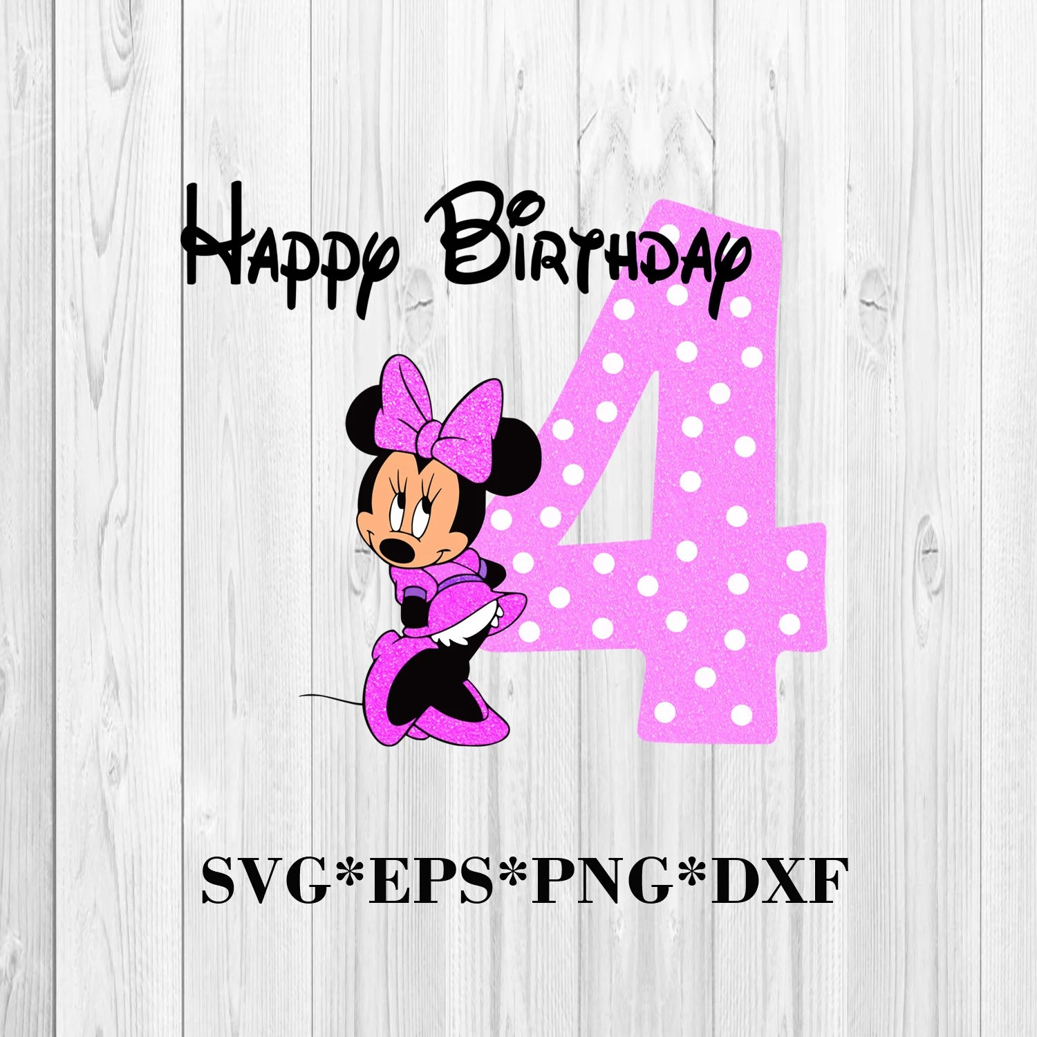 Minnie Mouse Number Four Svg Happy Birthday Minnie Svg Etsy
