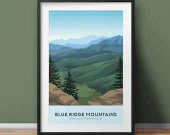 blue ridge poster etsy