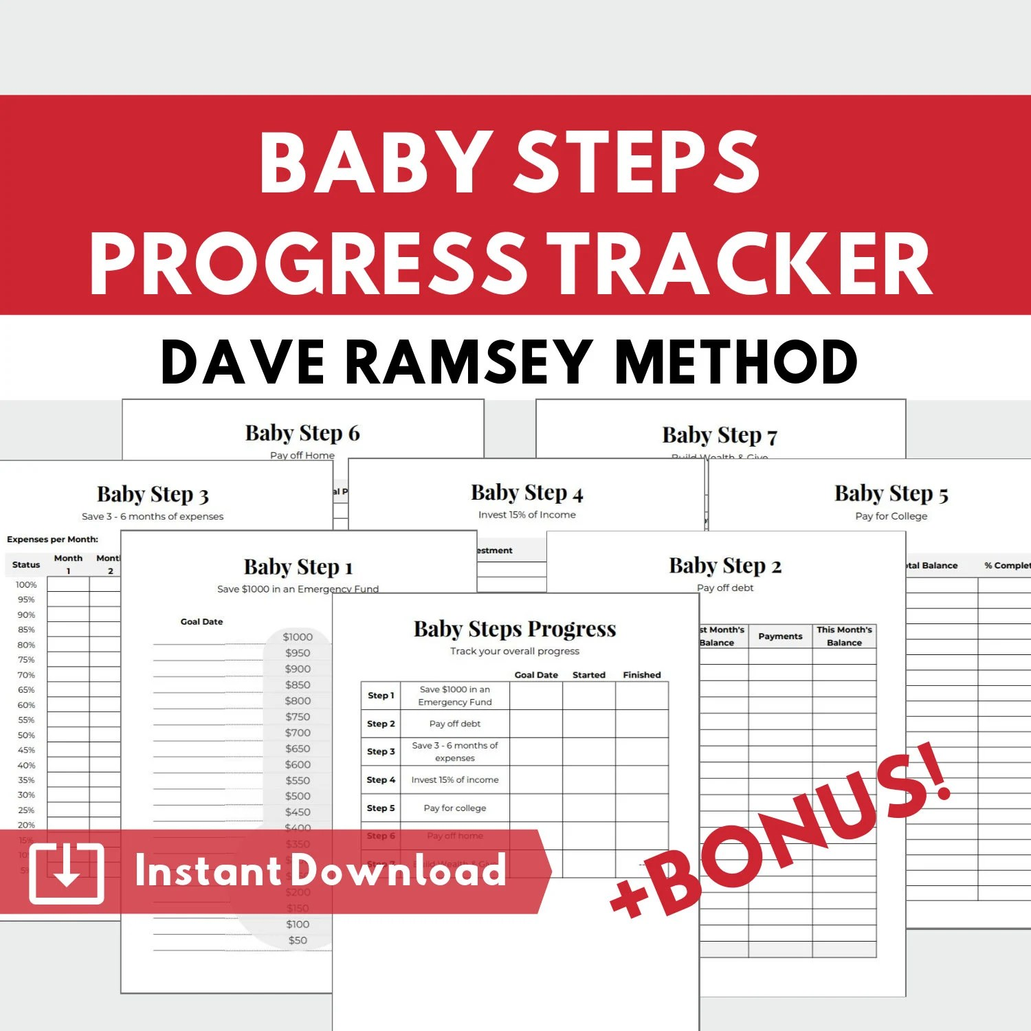 Baby Steps Progress Tracker Printable Planner Pages In A4 And Us Letter Dave Ramsey Financial Peace Program Planner Debt Snowball Planner
