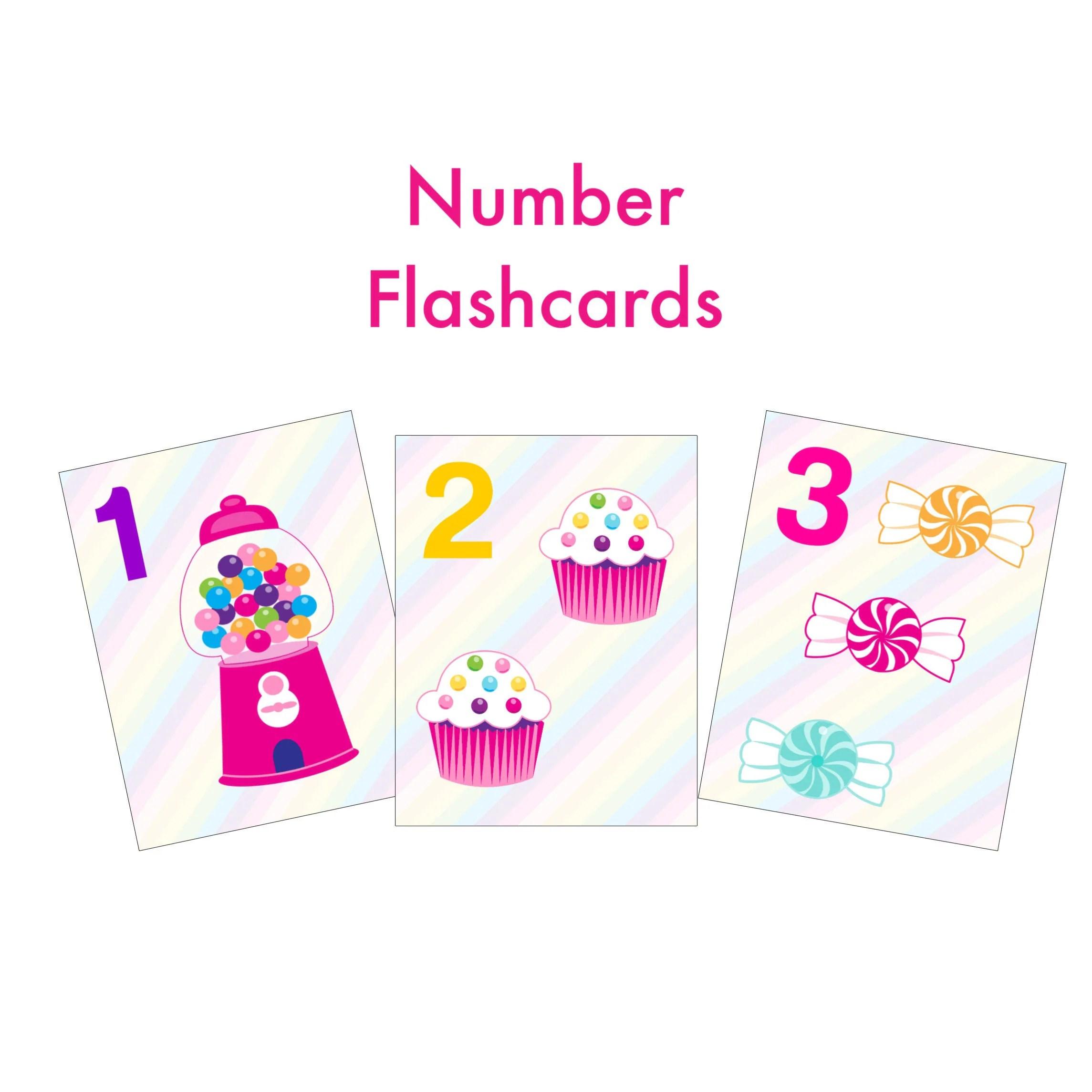 Candy Number Flashcards Preschool Learning Homeschool