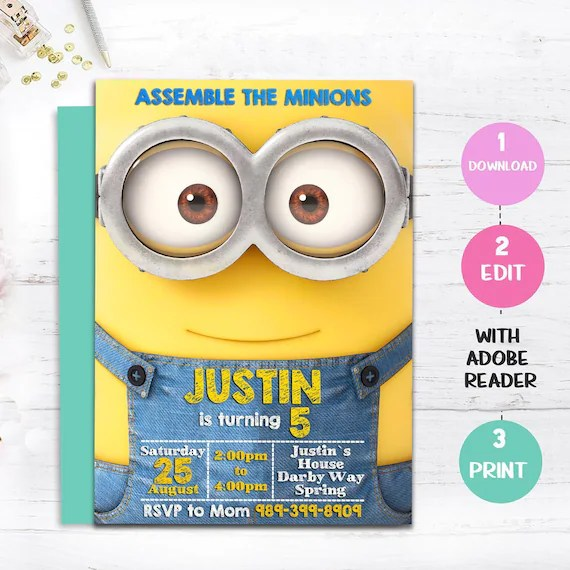 instant download minion birthday invitation minion party invitations invitation template